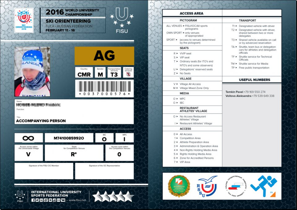 FISU  accreditation cards