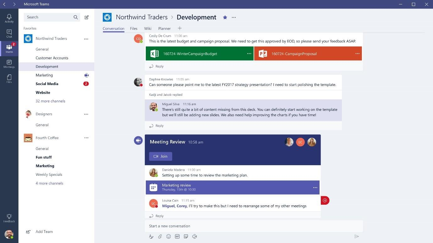 Microsoft Teams has rich collaboration functionalities